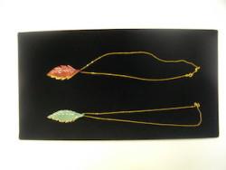Glass leaf pendants on chain by Brooke Drobot, $40 each